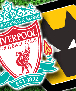 Liverpool and Wolverhampton Wanderers football club badges.