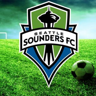 Seattle Sounders with soccer ball and goal.
