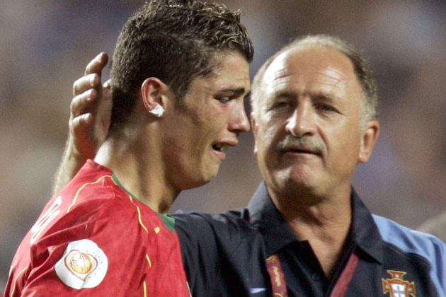 Ronaldo breaks down in tears following Portugal's shock Euro 2004 final defeat.