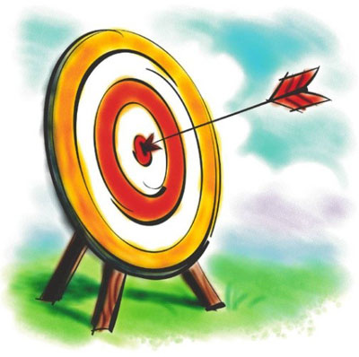 Cartoon archery target with an arrow in the bullseye used to illustrate the point that football traders should always be working towards an overall target.