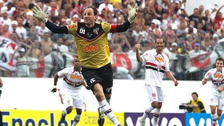 Ceni celebrates scoring one of his 131 career goals.