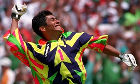 Despite his goalkeeping abilities, Campos was best known for his colourful jerseys.