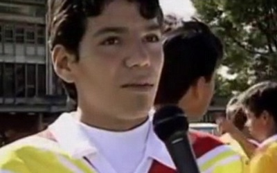 A 14-year-old Falcao gives an interview while playing for Lanceros Boyacá.