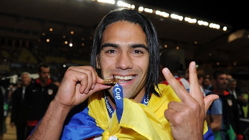 Falcao celebrates his hat-trick against Chelsea in the 2012 UEFA Super Cup.