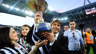 Conte celebrates his Serie A title victory with Juventus.