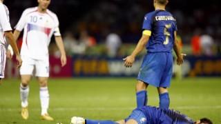 Zinedine Zidane was shown a straight red for headbutting Marco Materazzi.