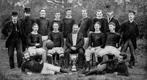 Aston Villa squad pictures in 1879 with the Birmingham Senior Cup.