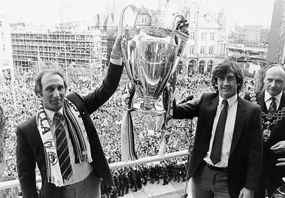 Manager Tony Barton and captain Dennis Mortimer with the European Cup.