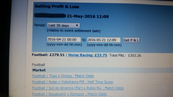 Betfair profit for 30 days of football trading.