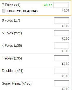 Football acca on a bookie website.