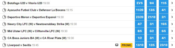 List of football matches with win, draw, lose prices.