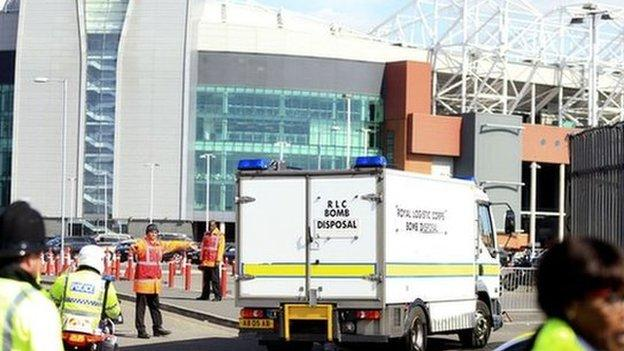 The Royal Logistics Corps Bomb Disposal Unit arrives at Old Trafford to carry out a controlled explosion.