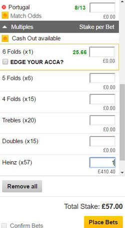 Heinz bet on a betting slip