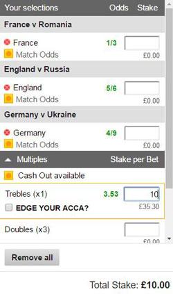Treble bet on a betting slip