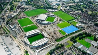 Aerial view of Manchester City's Etihad Campus facilities.