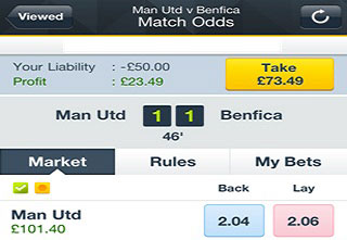 Manchester United v Benfica Betfair match odds screen with cashout button.