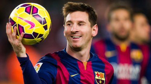 Lionel Messi celebrates scoring for Barcelona.