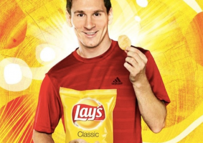 Lionel Messi stars in a commercial for Lay's crisps.