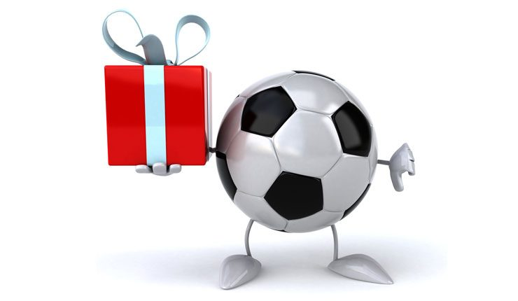 Football character holding a birthday present.