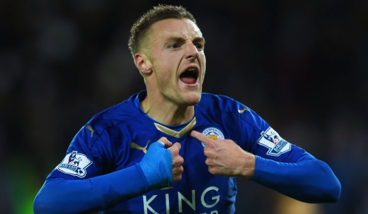 Jamie Vardy celebrates scoring during Leicester City's Premier League winning campaign.