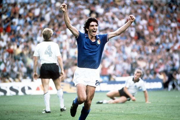 Paolo Rossi celebrates scoring for Italy at the 1982 World Cup.