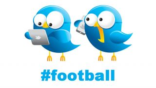 Two Twitter birds looking at Twitter on a tablet and phone with hashtag #football
