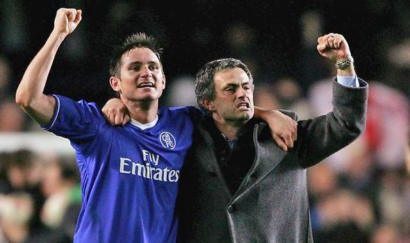 Chelsea icon Frank Lampard celebrates with Jose Mourinho.