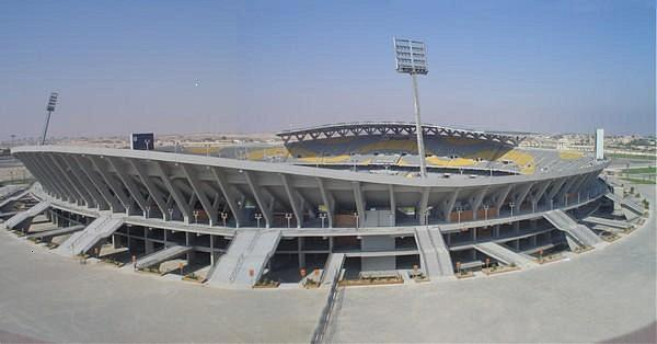 An aerial view of the Borg El Arab stadium in Egypt.