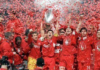 Steven Gerrard lifts the 2005 Champions League trophy with Liverpool.