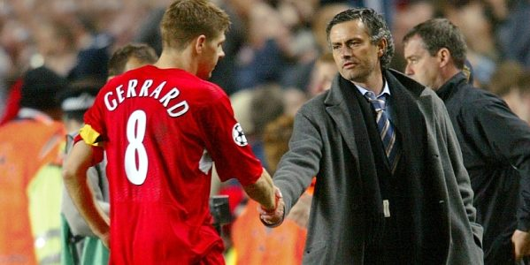 Steven Gerrard shakes Jose Mourinho's hand following their 2006/07 Champions League encounter.