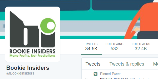 The @Bookieinsiders Twitter profile, including tweets and follower count.