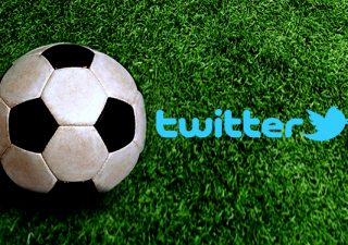 Twitter logo next to an unbranded football.