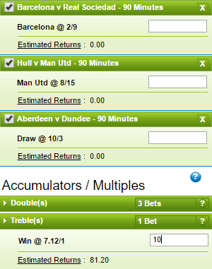 An accumulator betting slip from bookmakers William Hill.