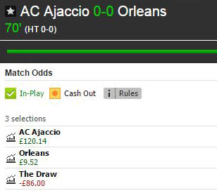 Betfair Match Odds market for the French Ligue 2 game Ajaccio v Orléans