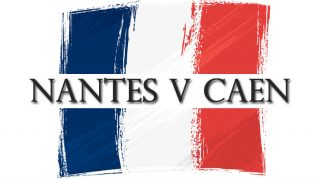 "French flag with ""Nantes v Caen"" text"