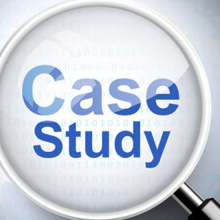"Magnifying glass with ""case study"" text"