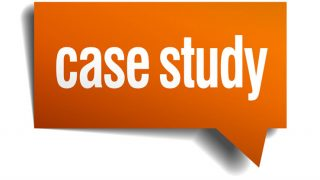 "Orange speech bubble with ""case study"" text"