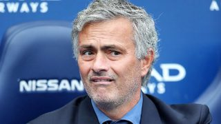 Jose Mourinho appears to be confused by a decision in the dugout.