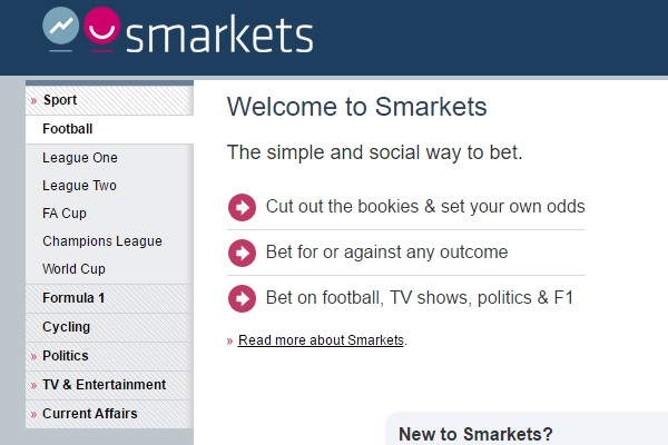 A screenshot of the Smarkets website in May 2010.