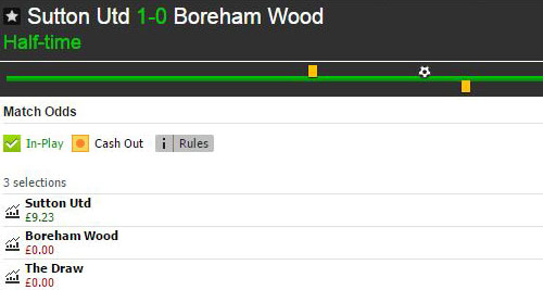 Betfair Match Odds market for Sutton United v Borehamwood