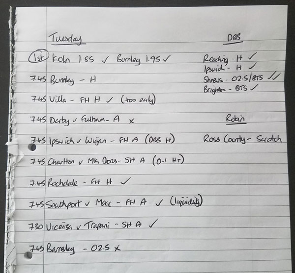 Handwritten shortlist of football trades and bets