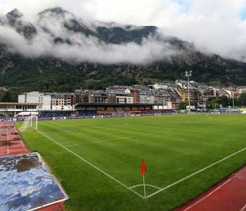 Clouds hang over the Estadi Comunal d'Andorra la Vella in Andorra.