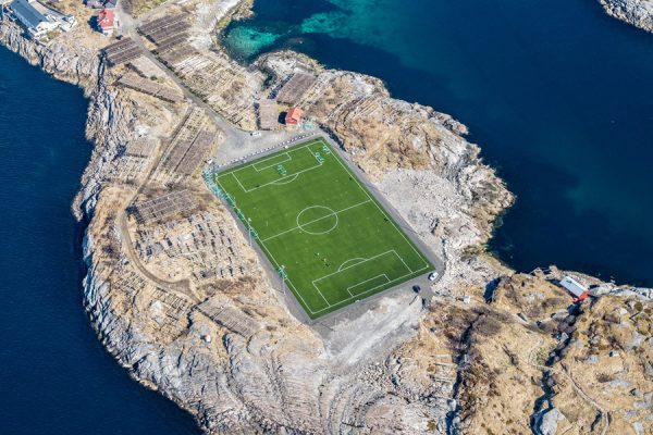 The Henningsvær Stadion in Henningsvær, Norway.