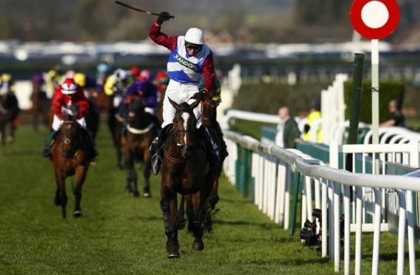One For Arthur races towards the finish line at the 2017 Grand National.