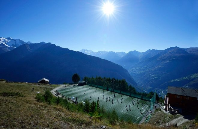 The idyllic Ottmar Hitzfeld Stadium, located in the Swiss Alps.