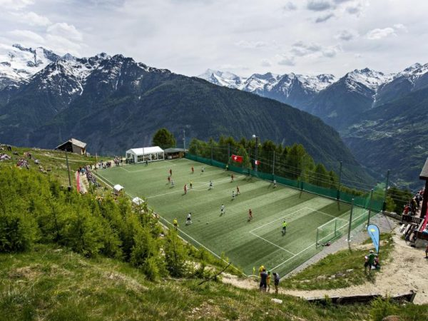 The Ottmar Hitzfeld Stadium, located in the small village of Gspon, Switzerland.