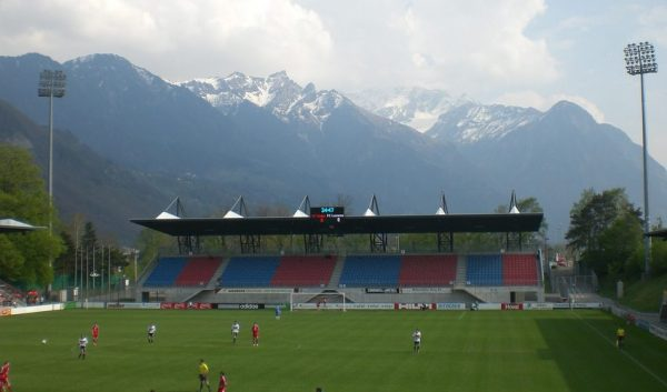 The Rheinpark Stadion, home to the Liechtenstein national team.