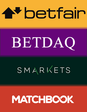 The four betting exchange logos, Betfair, BETDAQ, Smarkets and Matchbook.