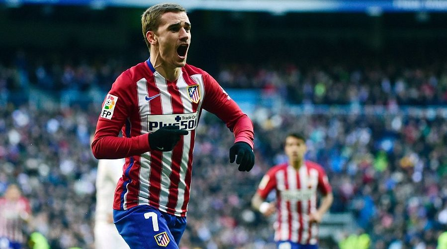 Antoine Griezmann celebrates scoring a goal for Atletico Madrid.