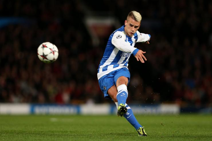 Antoine Griezmann strikes the ball while playing for Real Sociedad.